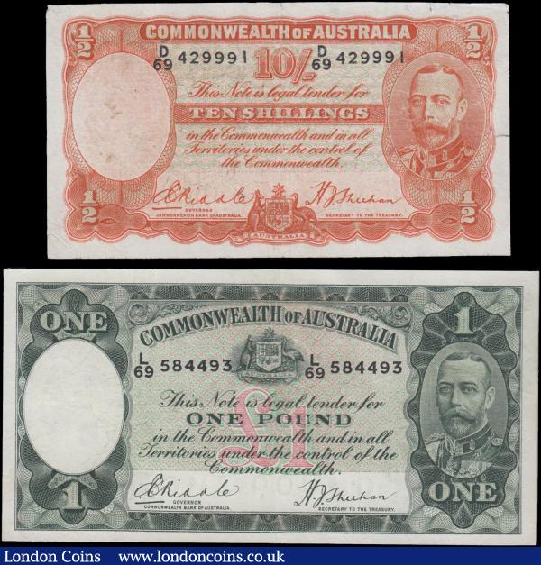 "Australia Commonwealth Bank ND (1933-1939) ""George V Facing Front"" Issues signed Riddle & Sheehan (2) comprising 10 Shillings Pick 21 serial number D/69 429991 in orange on multicolour underprint featuring portrait of King George V at right on obverse Allegorical manufacturers at centre, Watermarked Edward VIII Prince of Wales. Along with 1 Pound Pick 22 serial number L/69 584493 in dark green on multicolour underprint featuring portrait of King George V at right on obverse and Allegorical pastoral figures men with sheep at centre on reverse. The first about Fine and the second about VF, both pressed and the 10 /- with Minor tears in the border area mentioned for accuracy : World Banknotes : Auction 166 : Lot 121"