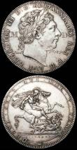 London Coins : A166 : Lot 1374 : Engraved Crowns (2) 1819 LX engraved AD Jan 1st 1820 in the obverse field, GVF, and 1819 LIX engrave...