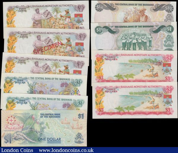 Bahamas (10) in about UNC - UNC comprising Monetary Authority issues L.1968 (5) including 3 Dollars Pick 28a (2) serial numbers B389538 & B497547, 1/2 Dollars (3) including Pick 26a (2) serial numbers D267237 & D267987 along with a SPECIMEN issue Pick 26s serial number C000000 red diagonal SPECIMEN overprint on obverse and reverse. Along with The Central Bank issues L. 1974 (2) including 1 Dollars (2) Pick 35a signature Donaldson serial number L/1 057974 and Pick 35b signature Allen serial number R/1 056839 this a scarcer variety. L. 1974 ND (1984) issues (2) including 1/2 Dollar Pick 42a serial number A083976 and 1 Dollar Pick 43a signature Allen serial number B544494. Along with 1992 Commemorative issue 1 Dollar Pick 50a celebrating the Quincentennial of First Landfall by Christopher Columbus serial number C133448.   : World Banknotes : Auction 166 : Lot 138