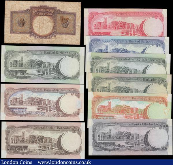 Barbados (10) in mostly high grades comprising Central Bank of Barbados (9) including 1 Dollar Pick 29a signature Blackman serial number F14186568. 2 Dollars Pick 30a signature Blackman serial number H4872817. 5 Dollars (3) including Pick 31a signature Blackman portrait S.J. Prescod serial number B1000830 and Pick 32a signature Blackman portrait Sir F. Worrell (2) serial numbers B8 414099 and G6727044. 10 Dollars (2) including Pick 38 signature King serial number C12954765 and Pick 33a signature Blackman serial number C7879187. 50 Dollars Pick 40a signature King serial number J2198263. 100 Dollars Pick 35a signature Blackman serial number E2350893. Along with a Government King George Vi issue 1 Dollar Pick 2c dated 1st January 1949 serial number B/X 386771. All very sought after issues : World Banknotes : Auction 166 : Lot 141
