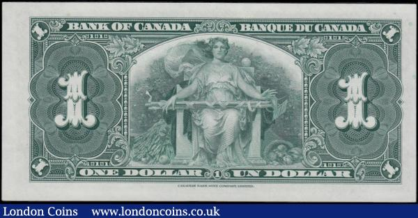 Canada Bank of Canada 1 Dollar Pick 48e dated 2nd January 1937 signatures Coyne & Towers serial number B/N 9030672. The note in black on green underprint featuring Portrait King George VI at centre and the reverse in green featuring a seated Allegorical figure, Wheat at lower centre left and fruit basket at lower centre right on reverse. Printed by the Canadian Bank Note Company Limited imprinted in small script at lower centre margin both on obverse and reverse. About UNC - UNC  : World Banknotes : Auction 166 : Lot 151
