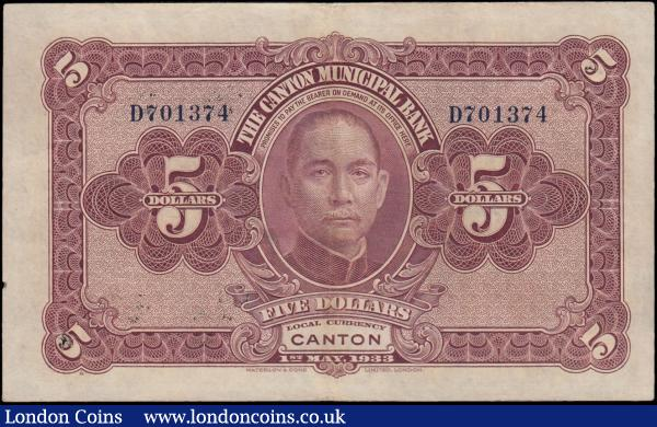 China The Canton Municipal Bank 5 Dollars Pick S2279c dated 1st May 1933 blue serial number D701374. Green on pale lilac underprint with large building at centre and vertical print on obverse and reverse in red-violet featuring Dr. Sun Yat-sen at centre. About VF : World Banknotes : Auction 166 : Lot 164