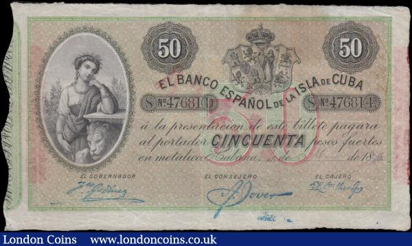 Cuba Banco Espanol De La Isla De Cuba 50 Pesos Pick 50b partly printed and partly handwritten date Habana, 15th May 1896 serial number 47681 and the note in black on red and green underprint featuring an Allegorical maiden with lion and lamb at left ant Coat of Arms at upper centre right on obverse and an Allegorical Woman's bust at centre with red overprint PLATA on reverse. VF, Minor Erasure and Ink Bleed, Annotation at upper right and Foreign Substance on reverse at upper centre left but a Scarce note and seldom seen : World Banknotes : Auction 166 : Lot 173