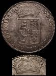 London Coins : A166 : Lot 1731 : Halfcrown 1689 First Shield, the caul with frosting on the left side bold as normal, the caul on the...