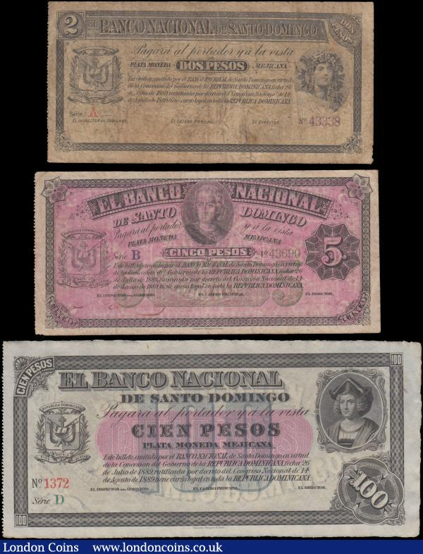 Dominican Republic Banco Nacional de Santo Domingo L. 14.08.1889 (1912) Remainder issues (3) including  2 Pesos Pick S142 series A No. 43338 Allegorical woman at right Arms at left and about VG,  5 Pesos Pick S143 series B No. 43690 Christopher Columbus at upper centre and Arms at left VG - about Fine and 100 Pesos Pick S147 series D No. 1372 Christopher Columbus at upper right and Arms at left VF - GVF. All very rare issues and Charles Skipper & East, England imprinted in small script at lower centre on obverse : World Banknotes : Auction 166 : Lot 182