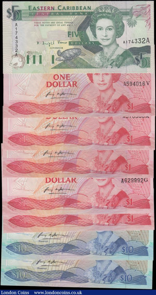 East Caribbean States (8) comprising 10 Dollars Pick 23g (2) consecutive pair serial numbers A251819G & A251820G,  1 Dollars Pick 171g (2) a consecutive pair serial numbers A629991G & A629992G,  1 Dollar Pick 17a serial number A594936A, 1 Dollar Pick 17k serial number A578086K,  1 Dollar Pick 17v serial number A594016V, 5 Dollars Anguilla Pick 26a serial number A174332A. All About UNC - UNC : World Banknotes : Auction 166 : Lot 185