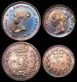 London Coins : A166 : Lot 1879 : Maundy Set 1840 ESC 2450, Bull 3483 EF to UNC with a colourful and matching tone