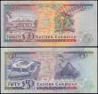 London Coins : A166 : Lot 188 : Eastern Caribbean States Antigua ND (1993) issues (2) comprising 50 Dollars Pick 29a serial number A...