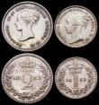 London Coins : A166 : Lot 1889 : Maundy Set 1853 ESC 2463, Bull 3496 the Fourpence, Threepence and Twopence NEF to EF cleaned, the Pe...