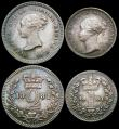 London Coins : A166 : Lot 1894 : Maundy Set 1881 ESC 2495, Bull 3536 EF to GEF with signs of old cleaning the Fourpence brushed