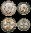 London Coins : A166 : Lot 1908 : Maundy Set 1919 ESC 2536, Bull 2536 NEF to GEF with touches of colourful toning, the Twopence with a...