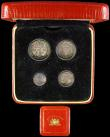 London Coins : A166 : Lot 1919 : Maundy Set 1930 ESC 2547, Bull 3990 GEF to UNC with a colourful matching tone, the Threepence with a...