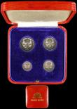 London Coins : A166 : Lot 1935 : Maundy Set 1940 ESC 2557, Bull 4309 EF to GEF and matching,  in a square red Maundy Money box