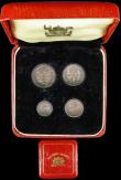 London Coins : A166 : Lot 1941 : Maundy Set 1955 ESC 2572, Bull 4564 A/UNC to with a matching colourful tone, comes in a square red M...