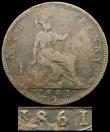 London Coins : A166 : Lot 1973 : Penny 1861 6 over 8 Freeman 30 dies 6+D, VG the surfaces with some verdigris, the overdate very clea...