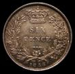 London Coins : A166 : Lot 2058 : Sixpence 1856 Longer Line below PENCE ESC 1703, Bull 3197 Choice UNC with an attractive and colourfu...