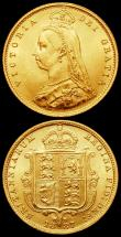London Coins : A166 : Lot 2136 : Sovereign 1887 Jubilee Head, D:G: further from the crown S.3866 DISH L7 GVF, Half Sovereign 1887 Jub...