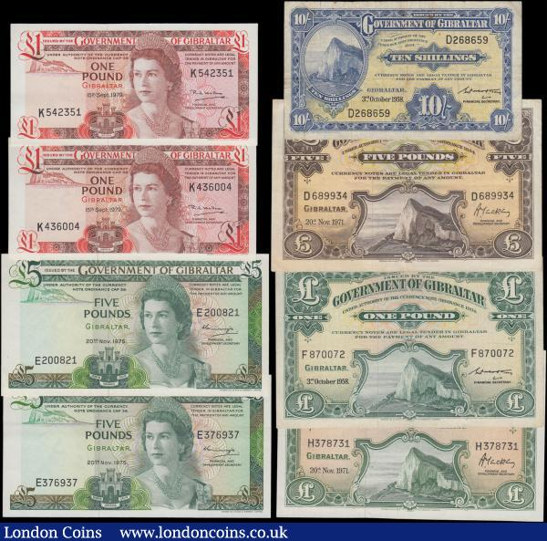 Gibraltar Government issues (8) in mostly high grades comprising 1 Pounds Pick 20b dated 15th September 1979 (2) serial numbers K436004 & K542351 and  5 Pounds Pick 21a dated 20th November 1975 (2) serial numbers E200821 & E376937, 10 Shillings Pick 14b dated 3rd October 1958 serial number D268659, 5 Pounds Pick 18b dated 20th November 1971 serial number D689934, 1 Pound Pick 15c dated 3rd October 1958 serial number F870072 and 1 Pound Pick 18b dated 20th November 1971 serial number H378731. : World Banknotes : Auction 166 : Lot 257