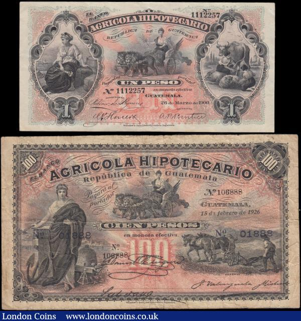 Guatemala Banco Agricola Hipotecario early Rare issues (2) including the 100 Pesos Reissue of Caja Reguladora Pick S105e dated 15th February 1926 number 106888 and an additional set of serial numbers 01888 overprinted, VG and Exceptionally scarce with PMG only having 1 example of this note on their Population Report at time of writing. Technically speaking, this is no longer an issue of the private bank, as the emission rights of those banks did expire between 1923-1926. The purpose of Caja Reguladora was the stabiliziation of the Peso. This goal was achieved in August 1924 at an exchange rate of Pesos 60 per US$. Remaining stock of the private banks were overprinted with an additional set of serial numbers. Along with 1 Peso Pick S101a dated 26th March 1900 number 1112257, rare early note bearing the date at the turn of the century, VF - GVF and seldom seen in higher grades. : World Banknotes : Auction 166 : Lot 261