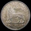 London Coins : A166 : Lot 2724 : Ethiopia Quarter Birr EE1889A (1897) Lion's Left foreleg raised KM#3 EF and nicely toned