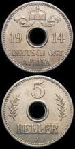 London Coins : A166 : Lot 2751 : German East Africa 5 Heller (2) 1913A KM#13 GEF, 1914J KM#13 A/UNC both with light golden toning