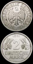 London Coins : A166 : Lot 2768 : Germany - Federal Republic 2 Marks (3) 1951F (2) KM#111 VF and EF, 1951J KM#111 NEF with small tone ...