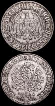 London Coins : A166 : Lot 2777 : Germany - Weimar Republic 5 Reichsmarks (2) 1928A KM#56 Good Fine, 1928D KM#56 About VF with a few s...