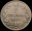 London Coins : A166 : Lot 2806 : Italy 2 Centesimi 1907R KM#38 Fine/Good Fine, the key date in this short series
