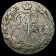 London Coins : A166 : Lot 2866 : Russia 5 Kopeks 1787EM C#59.3 Good Fine with some surface marks