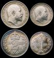 London Coins : A166 : Lot 2994 : Maundy Set 1902 ESC 2517, Bull 3607 EF to GEF cleaned, the reverse starting to retone, with slide ca...