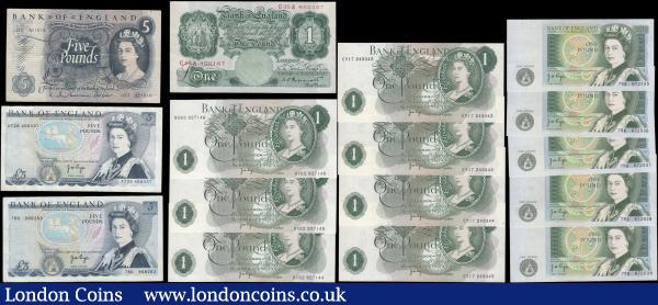 Bank of England (16) in mostly high grades to VF-GVF to UNC comprising Peppiatt Pre World War II 1 Pound Green B239 Unthreaded issue 1934 serial number C35A 800167. Hollom 5 Pounds QE2 portrait & seated child Britannia B297 issue 1963 serial number J33 4231015. Page (14) comprising 1 Pounds (12) including QE2 portrait & seated Britannia B322 issues 1970 (7) in 2 consecutively numbered sets - a set of 5 serial numbers CY17 243342 through CY17 243345 and a trio serial numbers BX62 927144 - BX62 92746. 1 Pounds QE2 pictorial & Sir Isaac newton B339 issues 1978 (5) in a consecutively numbered set 78R 672535 - 78R 672539. 5 Pounds QE2 pictorial & The Duke of Wellington 1973 L Reverse issues (2) including B334 serial number 78D 968263 and B336 serial number AT29 468437. : English Banknotes : Auction 166 : Lot 41