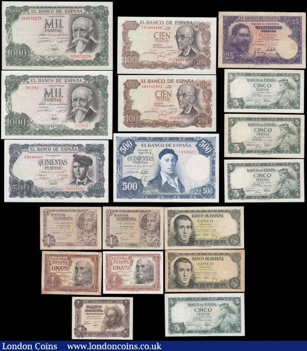 Spain El Banco de Espana (18) in mixed grades comprising 5 Pesetas Pick 140 dated 16th August 1951 (2) serial numbers 1K0496113 & 1H6681273, 1 Peseta Pick 139a dated 19th November 1951 serial number L8418689, 1 Peseta Pick 135a dated 19th June 1948 (2) serial numbers A05216178 & D04636468, 1 Pesetas Pick 144 dated 22nd July 1953 (2) serial numbers 1D2450193 & K5632602, 5 Pesetas Pick 146a dated 22nd July 1954 (4) serial numbers 2355426, E9695043, T2593088 & S1269615, 25 Pesetas Pick 146a dated 22nd July 1954 serial number E8329083, 500 Pesetas Pick 148a dated 22nd July 1954 serial number L0920877 this UNC and Scarce highest denomination for series, 100 Pesetas Pick 152a dated 17th November 1970 (2) serial numbers 4H1852484 & 7F7400440, 500 Pesetas Pick 153a dated 23rd July 1971 serial number Z0040689 and 1000 Pesetas Pick 154a dated 17th September 1971 (2) serial numbers 301982 & 3Z4572278 these UNC and Scarce highest denomination for series : World Banknotes : Auction 166 : Lot 431