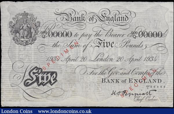 Five Pounds Peppiatt pre-war SPECIMEN White Note B241s dated 20th April 1934 serial number 000Q 00000. GEF - About UNC, Minor Foxing Horizontal lines perhaps from storage. Britannia medallion at upper left red SPECIMEN overprint in solid capitals twice diagonally at centre left and across signature at lower right. These notes were produced for the benefit of foreign central banks. They should have been returned and destroyed when no longer needed for reference, but that was not always the case. : English Banknotes : Auction 166 : Lot 44