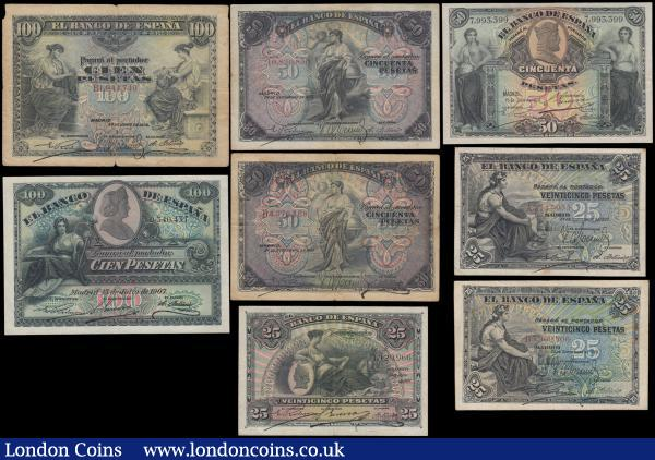 Spain El Banco De Espana early issues (8) in mixed grades comprising 25 Pesetas Pick 57a dated 24th September 1906 (2) serial numbers A3147055 & B5969806, 50 Pesetas Pick 58a dated 24th September 1906 (2) serial numbers 10820850 & B4576168, 100 Pesetas Pick 59a dated 30th June 1906 serial number B1944740, 25 Pesetas Pick 62a dated 15th July 1907 serial number 1129966, 50 Pesetas Pick 63a dated 15th July 1907 serial number 7993399 and  100 Pesetas Pick 64a dated 15th July 1907 serial number 0340437 : World Banknotes : Auction 166 : Lot 443