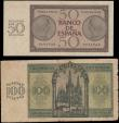 London Coins : A166 : Lot 445 : Spain Regency issues dated 21st November 1936 (2) comprising 50 Pesetas Pick 100a Brown on green und...
