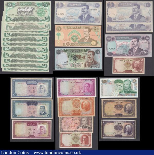 "World (28) Iran & Iraq a mixed group of early and more modern issues in various grades VG - UNC comprising Iraq (17) 25 Dinars Pick 74b (11), 25 Dinars Pick 73, 50 Dinars Pick 75, 100 Dinars Pick 84a (3), 250 Dinars Pick 85a. Iran (11) 5 Rials Pick 32Aa without stamp, 10 Rials Pick 33a with inked lettering, 10 Rials Pick 33Aa without stamp on reverse and with signs of tape removal, 20 Rials Pick 34A Arabic serial with stamp on reverse and inked lettering, 20 Rials Pick 100a, 50 Rials Pick 97 ""2500th Anniversary of the Persian Empire"", 100 Rials Pick 86b, 200 Rials Pick 81, 200 Rials Pick 92c, 5 Rials Pick 39 and 100 Rials Pick 50 : World Banknotes : Auction 166 : Lot 485"