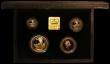 London Coins : A166 : Lot 525 : Britannia Gold Proof Set 1993 Four coin set FDC in the black case of issue with certificate