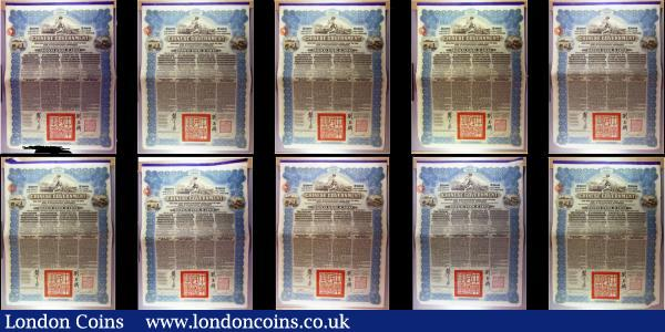 China, Chinese Government 1913 Reorganisation Gold Loan, 10 x bonds for £100 Hong Kong & Shanghai Bank issues, vignettes of Mercury and Chinese scenes, black & blue, with coupons. Generally Fine to Good Fine with pencil annotations, some with pinholes : Bonds and Shares : Auction 166 : Lot 7