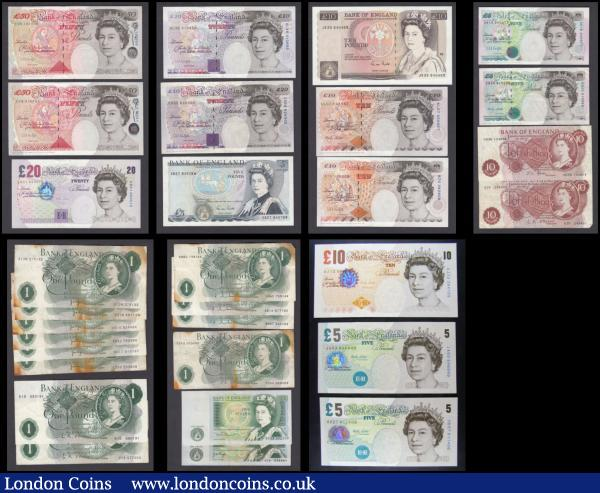 Bank of England (30) in mixed grades including some very high ones comprising O'Brien (3) including 1 Pounds QE2 & seated Britannia (2) B281 prefix R15 and B282 prefix 27S along with 10 Shillings QE2 & seated Britannia B286 First series prefix A25. Hollom 1 Pounds QE2 & seated Britannia (3) including B288 prefix B68T & B292 (2) First series prefix A61N along with E86U Fforde QE2 & seated Britannia issues (2) including 1 Pound B305 prefix T34A and 10 Shillings B310 LAST series prefix D03N. Page 1 Pounds (7) including QE2 & seated Britannia (6) including B320 (3) prefixes X55J, X12M and X27D, B322 (3) prefixes HW16, HX17 and CX33 and along with QE2 pictorial & Sir Isaac Newton B337 prefix A05. Somerset 1 Pound QE2 pictorial & Sir Isaac Newton B341 prefix DX03. Gill QE2 pictorial issues (2) including The Duke of Wellington 5 Pounds B353 prefix SB27 and Florence Nightingale 10 Pounds B354 LAST series prefix JR35. Kentfield QE2 pictorial issues (4) including George Stephenson 5 Pounds B364 prefix AK15, Charles Dickens 10 Pounds B366 prefix B70 and Michael Faraday 20 Pounds B375 (2) prefixes CD55 and AL46. Kentfield 50 Pounds Sir John Houblon Silver Tudor Foil B377 issues (2) prefixes C05 & C18. Lowther QE2 pictorial issues (6) including 5 Pounds (3) George Stephenson B380 prefix EB40, Elizabeth Fry (2) including B393 prefix JA03 and B395 prefix HD27. 10 Pounds (2) including Charles Dickens B382 prefix KL07 and Charles Darwin B390 prefix AJ12. 20 Pounds Sir Edward Elgar B386 prefix AB51. : English Banknotes : Auction 166 : Lot 76