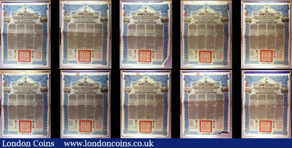 China, Chinese Government 1913 Reorganisation Gold Loan, 10 x bonds for £100 Hong Kong & Shanghai Bank issues, vignettes of Mercury and Chinese scenes, black & blue, with coupons. Generally Fine to Good Fine with pencil annotations, some with pinholes, some with small holes : Bonds and Shares : Auction 166 : Lot 8