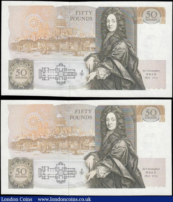 Fifty Pounds Kentfield QE2 pictorial and Sir Christopher Wren B361 issues 1991 (2) FIRST RUN from circulation serial numbers E01 122028 - E01 122029. Both about UNC - UNC : English Banknotes : Auction 166 : Lot 85