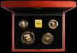 London Coins : A166 : Lot 882 : United Kingdom 1999 Gold Proof Four Coin Sovereign Collection, Gold Five Pounds, Two Pounds Rugby Ba...
