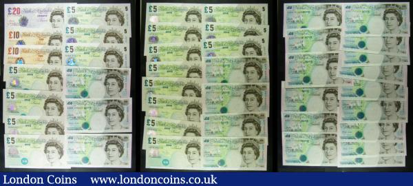 "Bank of England (43) comprising 20 Pounds Lowther QE2 & Sir Edward Elgar B386 issue 1999 serial number AA17 659328. 10 Pounds Lowther QE2 & Charles Darwin (2) including B388 ""The Company"" issue 2000 serial number AA15 826613 and B390cs Column Sort ""And Company"" issue 2000 serial number EL11 548347. 5 Pounds (40) comprising Kentfield QE2 & George Stephenson B364 Turquoise Crown at top right issue 1993 (16) prefixes CE65, CJ04, DA21, DA59, DA61 a near consecutive set (8), DA77 (4) . Lowther (13) including B393 Full Halo issues 2002 (3) prefixes JA12, JA17 and JA63, B395 Cut Hallow issues 2002 (4) prefixes HH05, HH23 and HE72 (2), QE2 and George Stephenson B380 Turquoise Crown at top right issue 1999 (6) prefixes EB54, ED68 (2), EE61, EE62 and EE70. Bailey QE2 and Elizabeth Fry (11) including B398cs Column Sort Turquoise Cut Halo & Unvarnished issue 2004 serial number EL01 815915 and B398 turquoise Cut Halo & Unvarnished issue 2004 (10) prefixes JB51, JC29, JH17, JH19 (2), JH20, JH75 (4).  Mostly About UNC - UNC, few with tellers creases  : English Banknotes : Auction 166 : Lot 90"