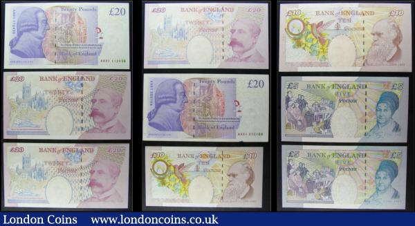Bank of England Bailey (9) in mostly very high grades comprising 5 pounds QE2 & Elizabeth Fry B398 issues 2004 (2) serial numbers JC01 901969 & JC02 519100. 10 Pounds QE2 & Charles Dickens 2004 issues (2) including B400 serial number DD48 329323 & a Replacement issue B401 serial number LL19 769395. 20 Pounds (5) including QE2 & Sir Edward Elgar issues B402 (3) serial number ED55 573282 along with a consecutively numbered pair EB74 527691 & EB74 527692 and QE2 & Adam Smith 2007 issues B405 (2) serial numbers on reverse FIRST RUN AA01 112436 & AA01 255164. : English Banknotes : Auction 166 : Lot 93