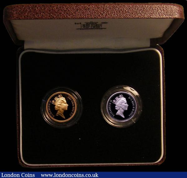 Sovereign 1996 Proof S.SC2 FDC, and One Pound 1996 Silver Proof S.J11 FDC both in the Royal Mint 2-coin box  only 250 sets issued in this format : English Cased : Auction 167 : Lot 141