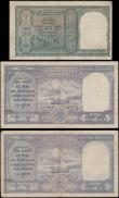 London Coins : A167 : Lot 1521 : India Reserve Bank George VI facing forward portrait Deshmukh signature ND 1943 issues (3) comprisin...