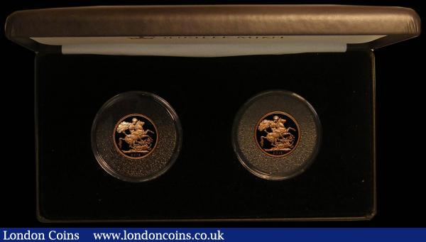 Sovereigns 2015 a 2-coin set The Queen Elizabeth II Portrait Proof Sovereign Pair comprising Sovereigns (2) 2015 Ian Rank-Broadley Portrait Proof S.SC9 and 2015 Jody Clark Portrait Proof S.SC10 nFDC with a hint of toning, retaining practically full mint brilliance, in the Jubilee Mint box of issue with certificate : English Cased : Auction 167 : Lot 154