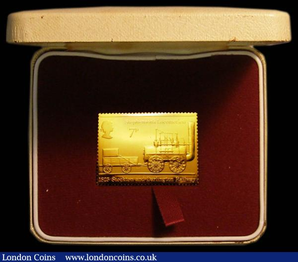 Stockton and Darlington Railway 1825 Stamp Replica (7 pence) in 22 carat gold (26.7 grams) BU by Hallmark Replicas LTD 1st July 1975, cased with certificate : English Cased : Auction 167 : Lot 155