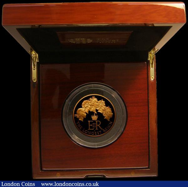 Ten Pounds 2015 The Longest Reigning Monarch 5 oz. Gold Proof, Obverse with James Butler Portrait, S.M6 FDC in the box of issue with booklet and certificate  No.87 of just 170 minted, the only date with the James Butler portrait : English Cased : Auction 167 : Lot 159