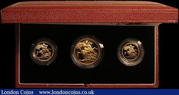 The 1987 United Kingdom Gold Proof Set, the three coin set Double Sovereign, Sovereign and Half Sovereign FDC cased as issued with certificate : English Cased : Auction 167 : Lot 170